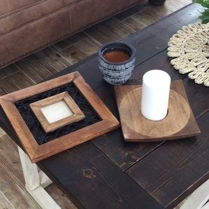 Boho grouping picture frame candle holder and pot